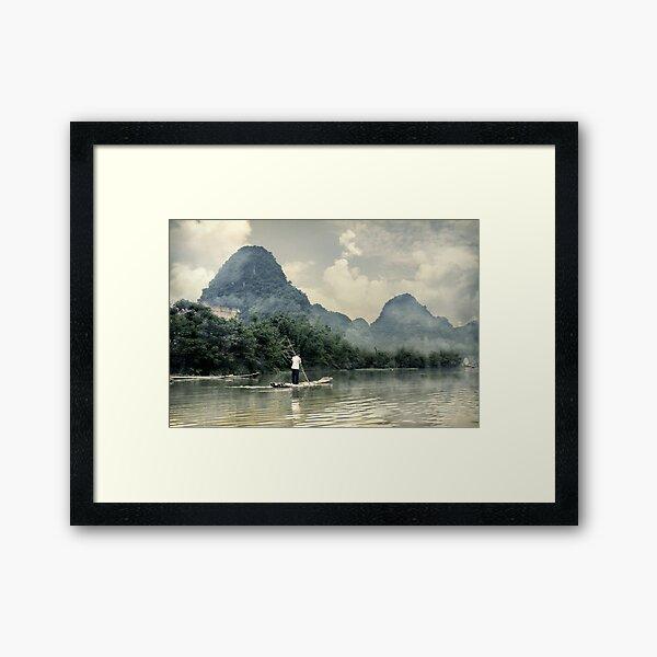 Bamboo boat Framed Art Print