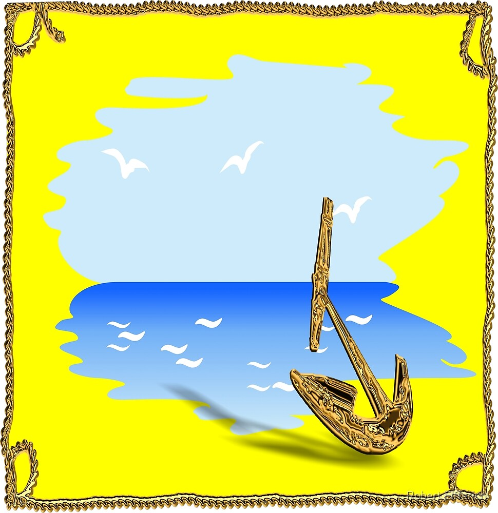 Anchor on the beach in a summer setting by Robert Elfferich
