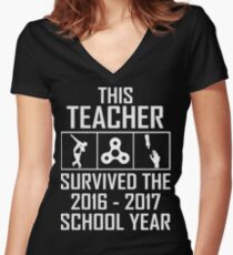 This Teacher survived the 2016 2017 school year t-shirt Women's Fitted V-Neck T-Shirt