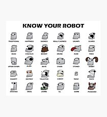 Know Your Robot - Cartoon Guide Photographic Print
