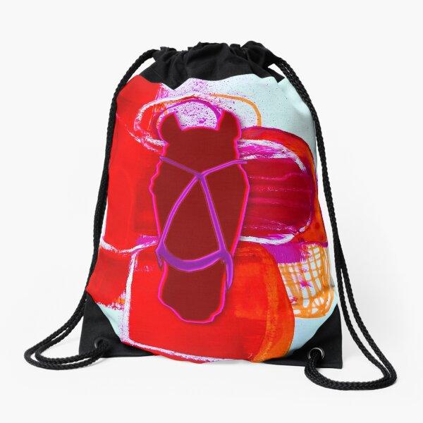 polo horse red Drawstring Bag