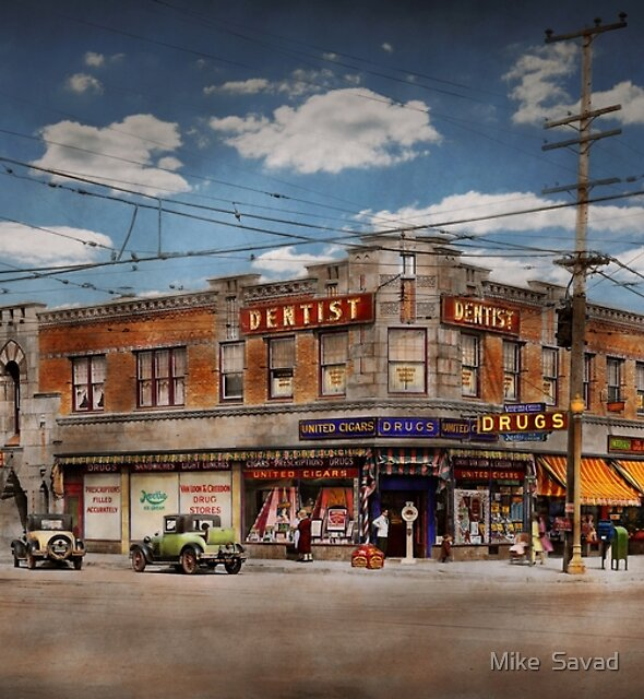 Dentist - The corner drugstore 1910 by Michael Savad