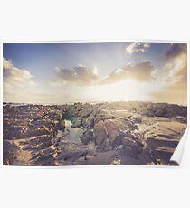 Golden hour, Rocky beach landscape Poster