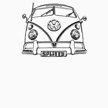 VW kombi Split T-shirt by KellieBee