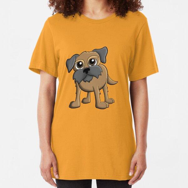 Cartoon Border Terrier Pet Dog Portrait Slim Fit T-Shirt