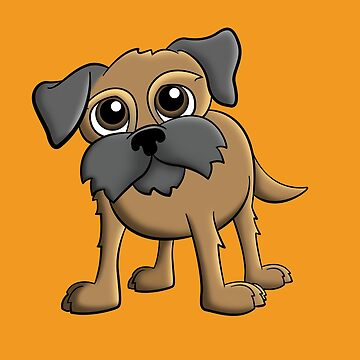 Cartoon Border Terrier Pet Dog Portrait by rideawave