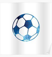 Blue soccer ball Poster