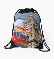 Liver Building and Pride Flags Drawstring Bag