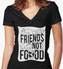 Friends Not Food PIG COW CHICKEN Women's Fitted V-Neck T-Shirt