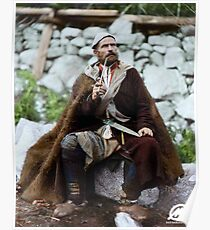 Old peasant with dagger and long smoking pipe, Svanetia, Georgia, ca. 1888 Poster