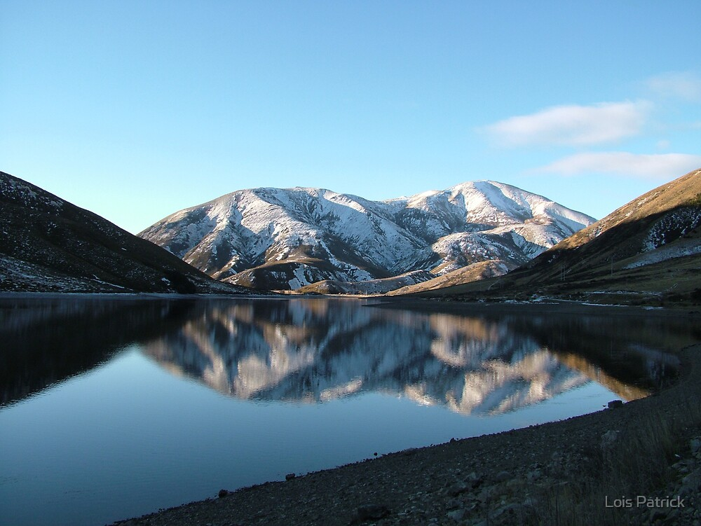 Reflection in Lake Lyndon, Canterbury, New Zealand by Lois Patrick