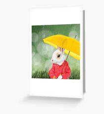 Little bunny under the rain Greeting Card