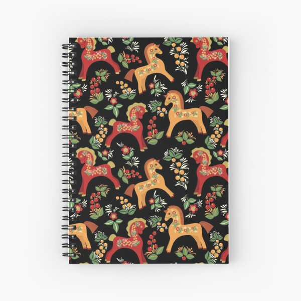 Folk horses pattern  Spiral Notebook