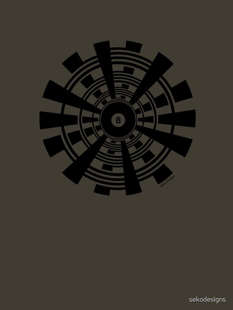 Mandala 35 Eight Ball Back In Black  by sekodesigns
