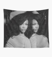 sza reflection b&w Wall Tapestry