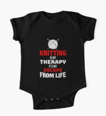 Funny Knitting Lover Gift  - Knitting Is My Therapy  One Piece - Short Sleeve