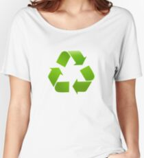 Green Recycle symbol on white background Women's Relaxed Fit T-Shirt