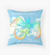 """No Hardship Lasts Forever"" Rainbow Dragon Throw Pillow"