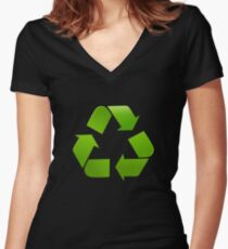 Green recycle symbol on black background Women's Fitted V-Neck T-Shirt