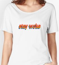 Stay Woke Graphic Women's Relaxed Fit T-Shirt