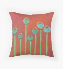 Seven Poppy Seed Pods Throw Pillow