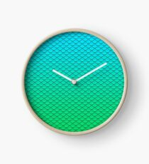 Mermaid Tail Turquoise Green Pattern Clock