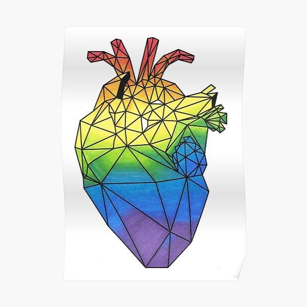 Geometric Rainbow Anatomical Heart Poster