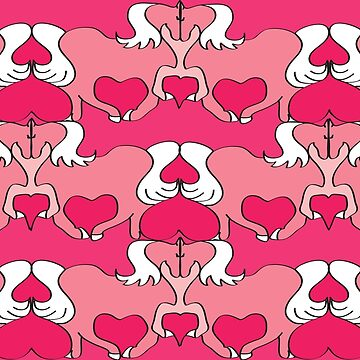 Horse Lovers - Horses & Hearts in Red & Pink by Horseworks