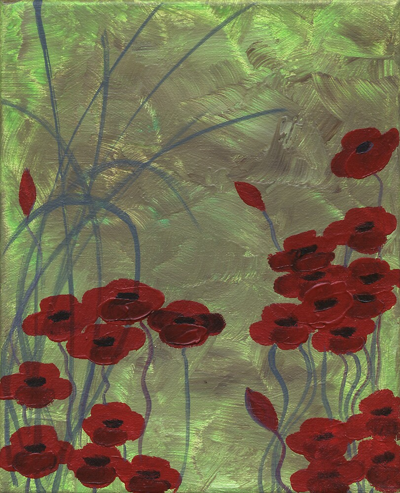 Green Field Poppies and Grasses by Nathalie Van