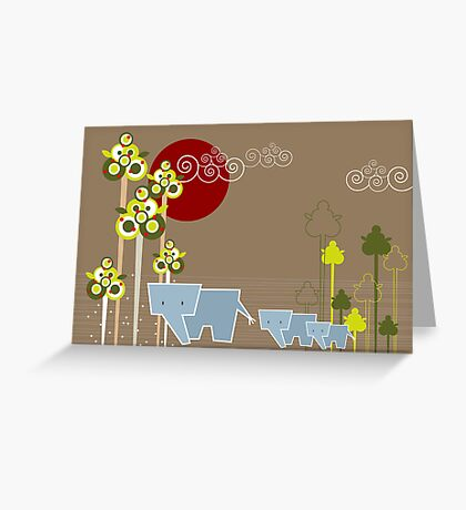 Elephant Family In The Forest Greeting Card