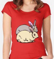 GREY RABBIT YELLOW RABBIT  Women's Fitted Scoop T-Shirt