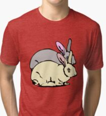 GREY RABBIT YELLOW RABBIT  Tri-blend T-Shirt