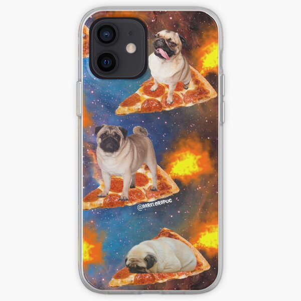Pugs in Space Riding Pizza iPhone Soft Case