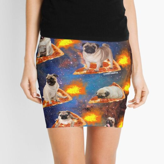 Pugs in Space Riding Pizza Mini Skirt