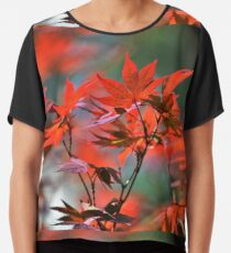 Red Japanese Maple Leaves  Chiffon Top
