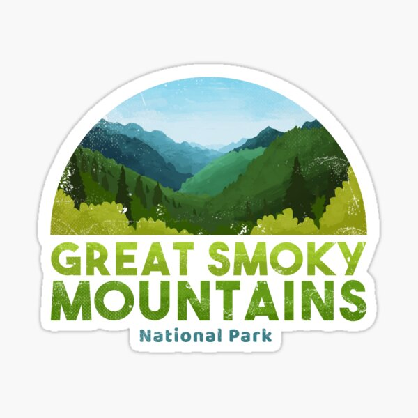 Hike Great Smoky Mountains National Park American Vinyl Round in The Smokies Sticker