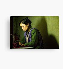 She Sews into the Night Canvas Print