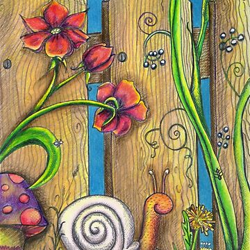 Garden Fence Whimsical drawing by VickiBowerArt