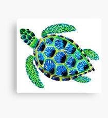Psychedelic sea turtle in acrylic Canvas Print