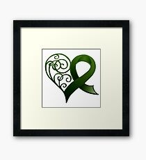 Decorative Heart with Green Ribbon Framed Print