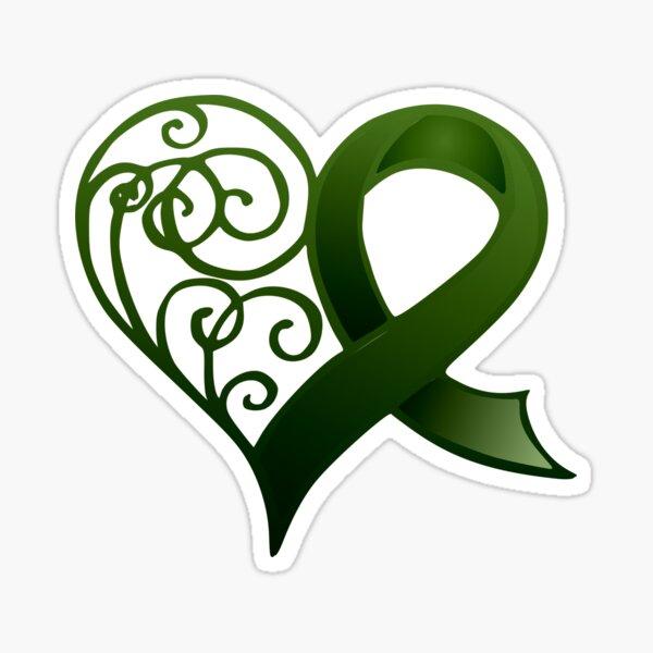 Decorative Heart with Green Ribbon Sticker