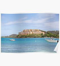 Beautiful Resort Over Emerald Seas on St Thomas Poster
