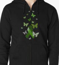Green Awareness Ribbon with Butterflies Zipped Hoodie