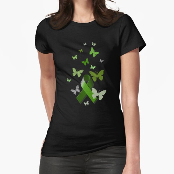 Green Awareness Ribbon with Butterflies Fitted T-Shirt