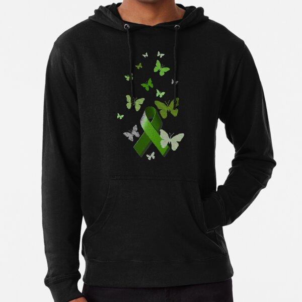 Green Awareness Ribbon with Butterflies Lightweight Hoodie