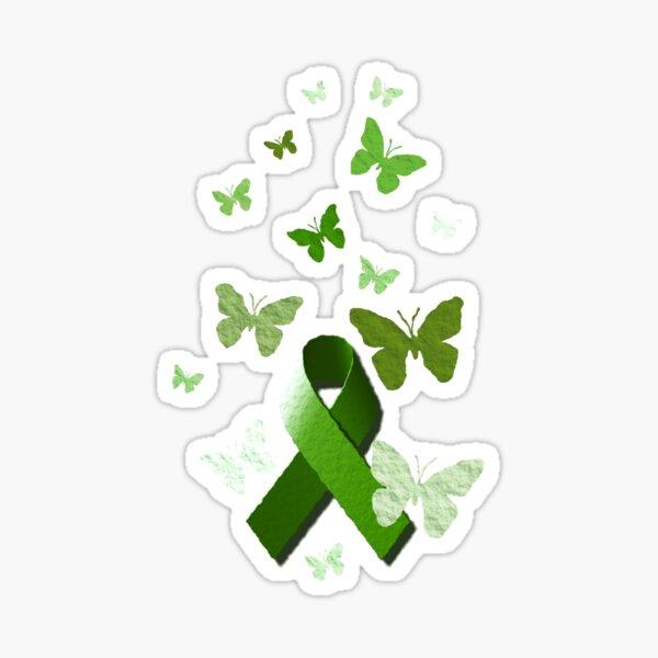 Green Awareness Ribbon with Butterflies Sticker