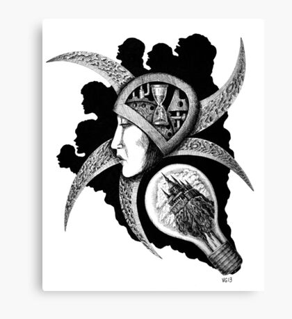 Dreaming surreal pen ink black and white drawing Canvas Print