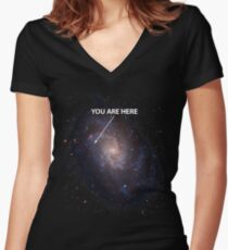 You Are Here Universe Galaxy Women's Fitted V-Neck T-Shirt