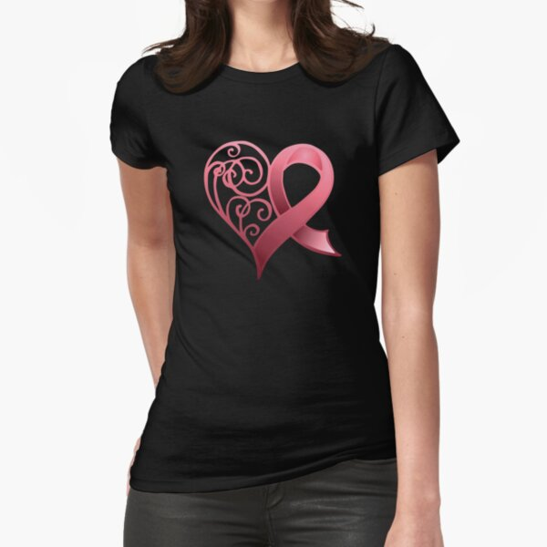 Pink Awareness Ribbon in Heart Fitted T-Shirt