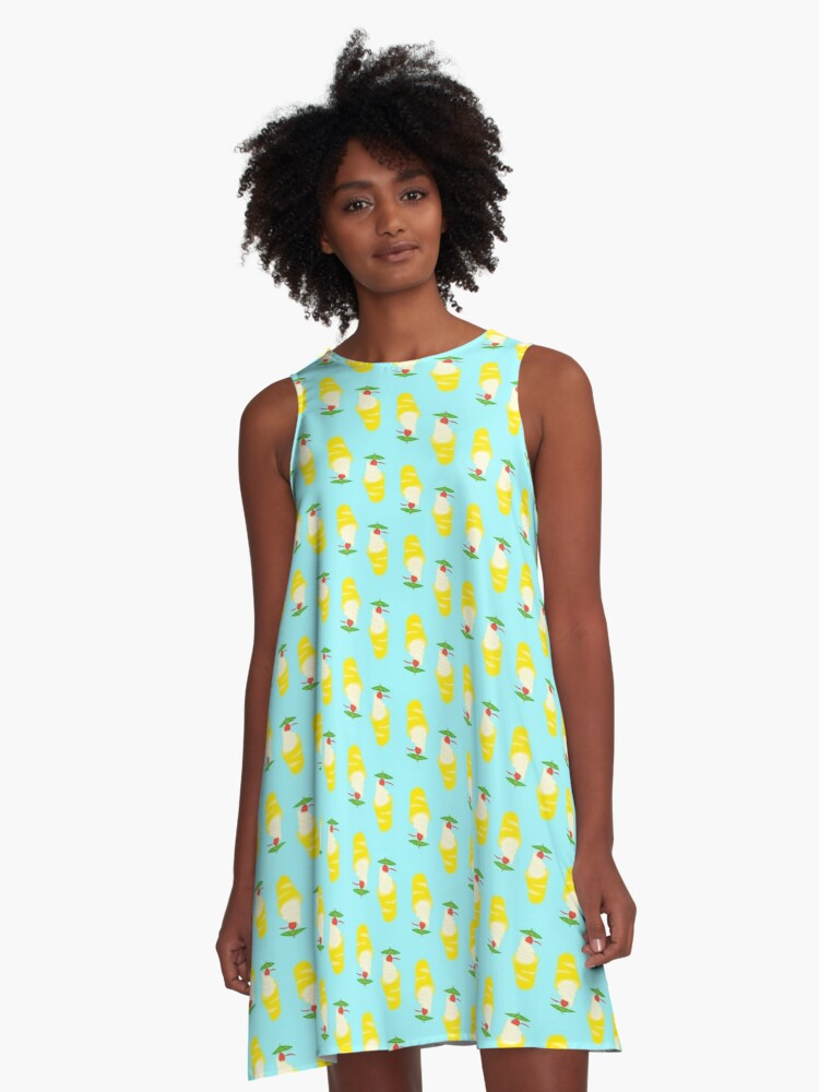 Summer Pineapple Float A-Line Dress Front
